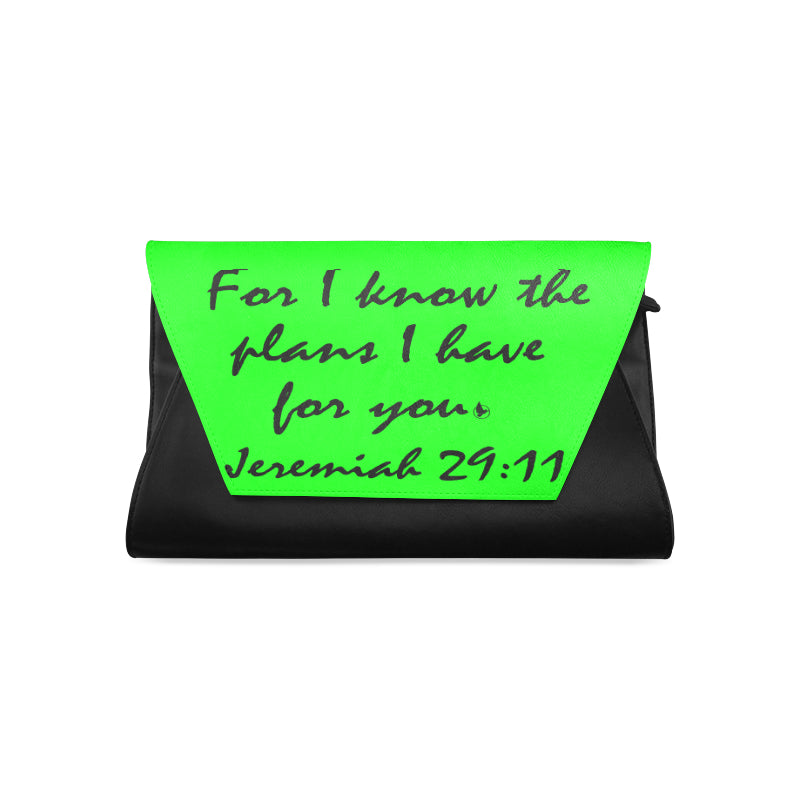 Jeremiah 29.11 black green clutch.jpg