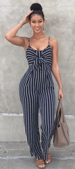 Stripe Bow Knot Cami Jumpsuit