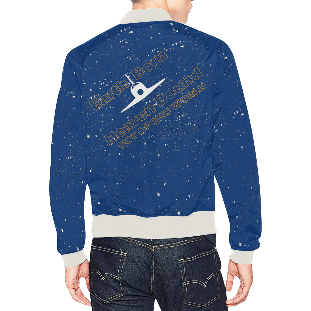 Earth born heaven bound bomber blue back