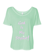 light green God is my stylist flowy tee.png