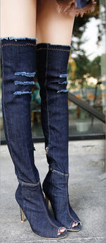 Denim Stiletto Boots