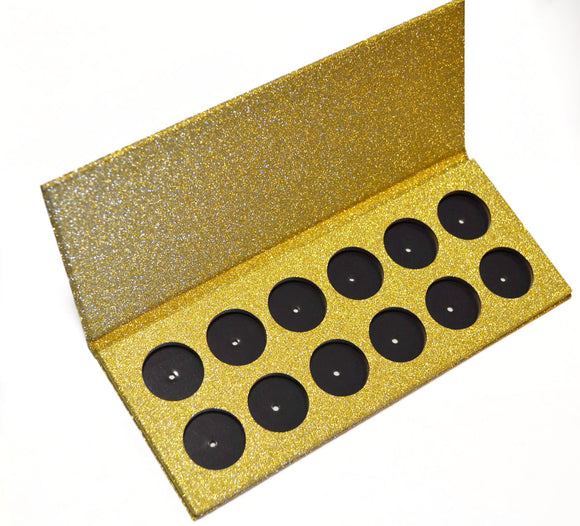 EMPTY 26mm magnetic palette - 12 pan - GOLD GLITTER