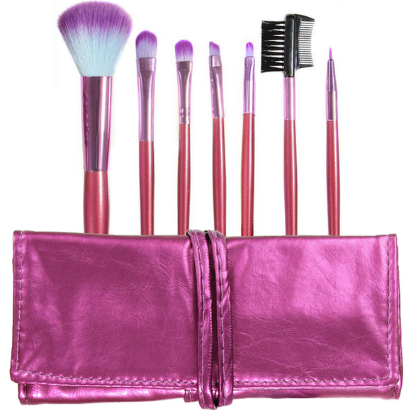 7 piece brush set + brush roll - PURPLE