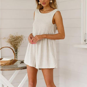 JOJORUBY V-Neck Halter Cotton And Linen Shorts Romper