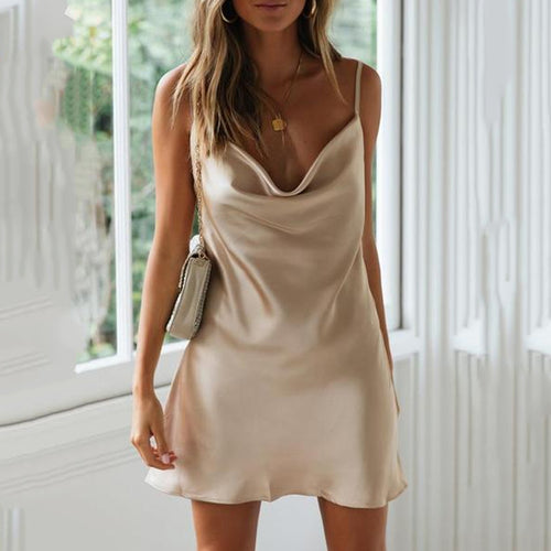 Solid Color Sling Mini Dress