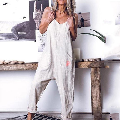 JOJORUBY Loose Comfortable Sleeveless Casual Romper Jumpsuit