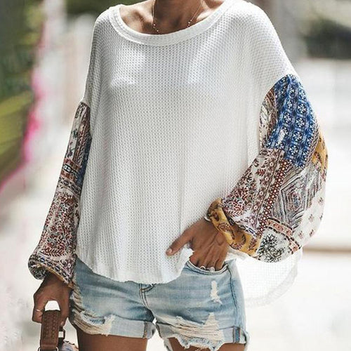 Casual Loose Color Matching Long-Sleeved Knitting Sweater