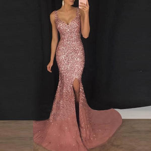 JOJORUBY Sexy Deep V Sling Slim Sequin Evening Gown