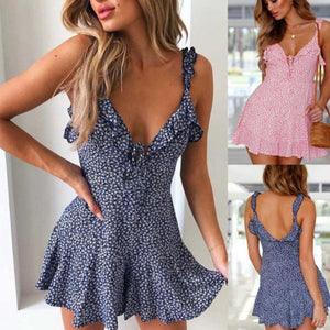 JOJORUBY Casual Sexy Deep V Neck Sling Wave Point Print Mini Dresses