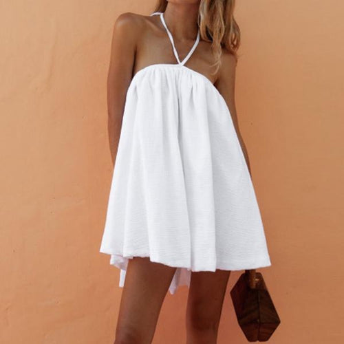 JOJORUBY White Sexy Suspender Poplin Romper Mini Dress