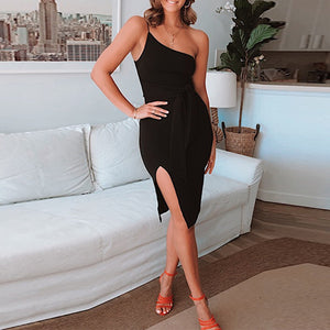 Slit Shoulder Slit Side Split Dress