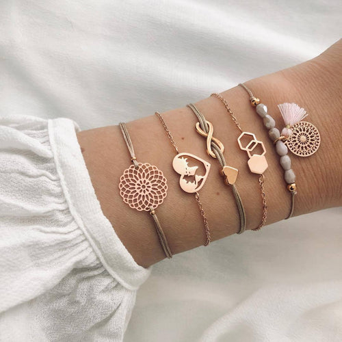Fashion Handmade Personality Stringing Bracelet Love 8 Word Geometry 5-Piece Suit