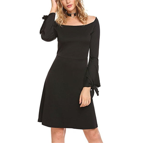Long-Sleeved Cutaway Collar Slim Skater Dress