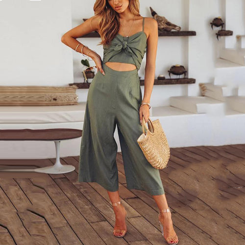 JOJORUBY Sexy Fashion Hollow Out Sleeveless Jumpsuit