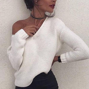 Fashion One Shoulder Long Sleeves Plain Sweater