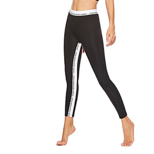 JOJORUBY Fashion Letter Ribbon Stretch Slim Yoga Pants