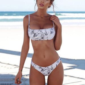 JOJORUBY Spaghetti Strap Backless Cutout Patchwork Plain Printed Bikini
