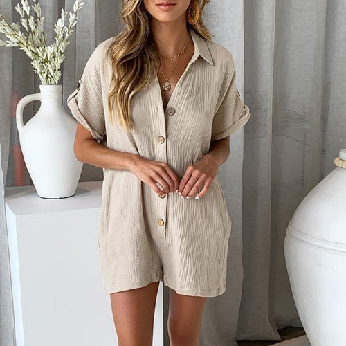 JOJORUBY Summer Casual Loose Button Romper