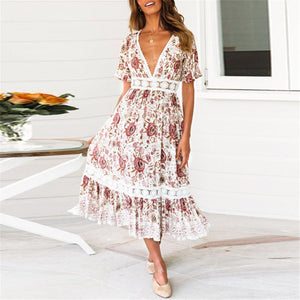 JOJORUBY Bohemia Style Floral Printed Hollow Vacation Dress
