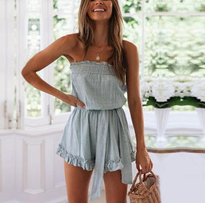 JOJORUBY Ruffled Chest Strap Tie Romper