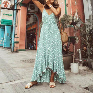 JOJORUBY Fashion Sexy Sleeveless Vacation Point Maxi Dress