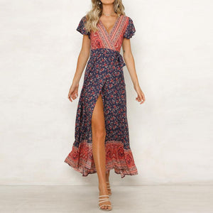 JOJORUBY Bohemia Style Printed Belted Slit Vacation Dress
