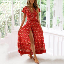 Load image into Gallery viewer, Printed Slit V-Neck Short-Sleeved Vacation Maxi Dress