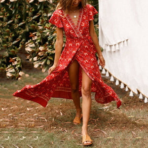 Printed Slit V-Neck Short-Sleeved Vacation Maxi Dress