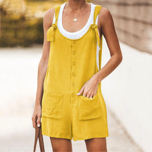 JOJORUBY Daily Solid Color Frenulum Cotton And Linen Strap Rompers