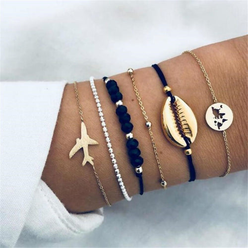 JOJORUBY Fashion Shell Airplane Map Bead Chain Bracelet