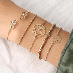 JOJORUBY Fashion Leaf Map Carved Openwork Bracelet