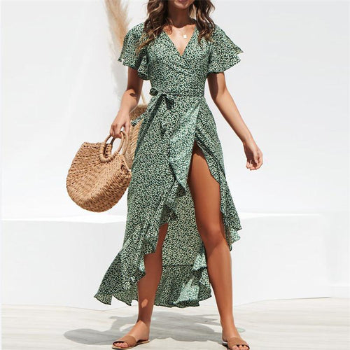 JOJORUBY Chiffon Sexy Polka Dot Irregular   Bandage Lace Dress
