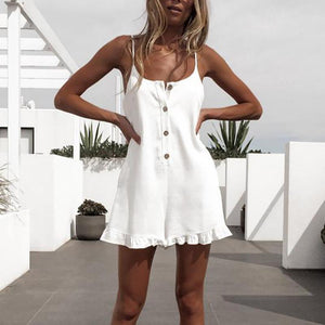 JOJORUBY Sexy Sleeveless Off-Shoulder Single-Breasted Romper