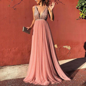 JOJORUBY Sexy Deep V Sleeveless Halter Backless Evening Dress