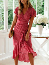 Load image into Gallery viewer, JOJORUBY Commuting V Neck Ruffled Floral Pleated Vacation Maxi Dress