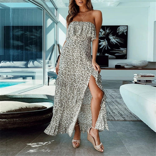 JOJORUBY Summer Printed Tube Fork Vacation Maxi Dress