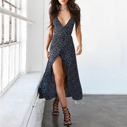 Sexy Sling V-Neck Tie Printed Floral Vacation Dress