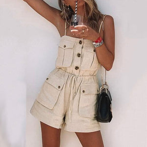 JOJORUBY Fashion Casual Vacation Style Sexy Strap Short Rompers