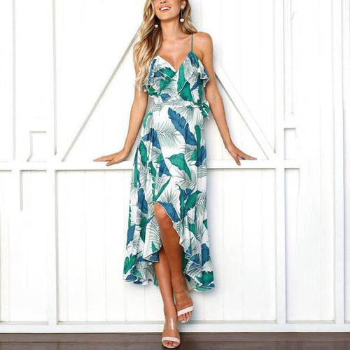 Sling Sexy Floral Printed Ruffled Split Vacation Dress