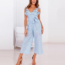 Load image into Gallery viewer, JOJORUBY High-Waisted Ruffled Buttoned Wide-Leg Jumpsuit