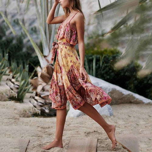 Bohemian Printed Colour Belted Off-Shoulder Pleated Bare Back Vacation Dress