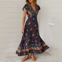 Load image into Gallery viewer, JOJORUBY Bohemian Big Pendulum V-Neck Beach Holiday Tie Printing Vacation Maxi Dress