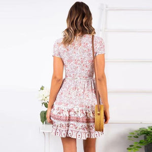 JOJORUBY Fashion V-Neck Hem Lace Stitching Print Mini Dress