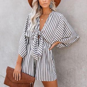 Casual Striped Print Wide Cuff V-Neck Strap Loose Rompers