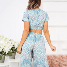 Load image into Gallery viewer, JOJORUBY V-Neck Short-Sleeved Slinky + Nine-Sleeve Trousers Two Piece Set