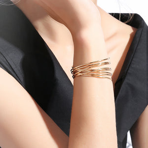 JOJORUBY Atmosphere Exaggerated Punk Wide Metal Decorative Open Bracelet