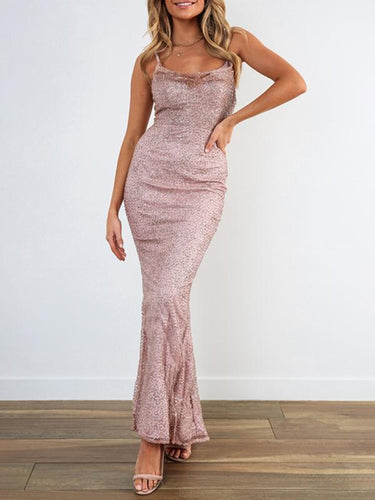 Sexy Sling Sleeveless Solid Color Split Dress