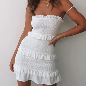 Sexy pleated strap ruffle dress