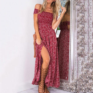 JOJORUBY Off Shoulder Slit Maxi Dresses