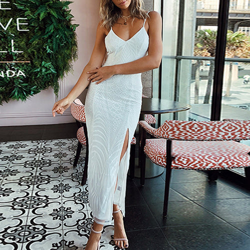 Fashion Sling Side Lace midi Dress